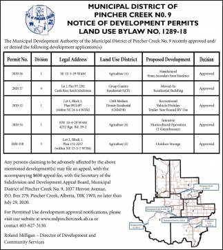 Notice Of Development Permits Land Use Bylaw No. 1289-18