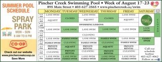 Summer Pool Schedule