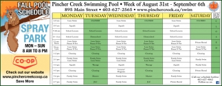 Fall Pool Schedule