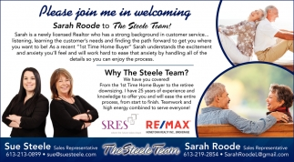 Please Join Me in Welcoming Sarah Roode to the Steele Team!