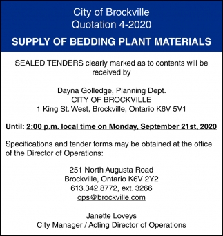 Supply of Bedding Plant Materials
