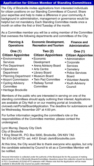 Application for Citizen Member of Standing Committees
