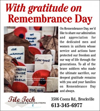 With Gratitude On Remembrance Day