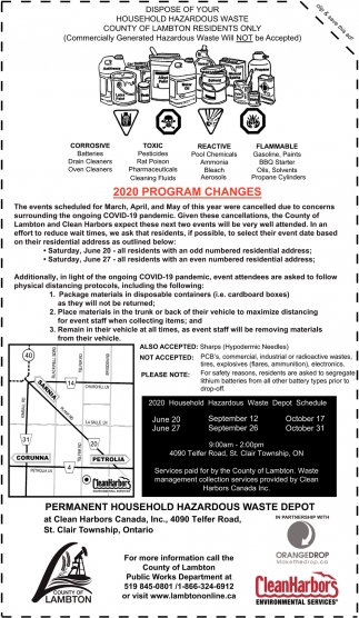 2020 Program Changes