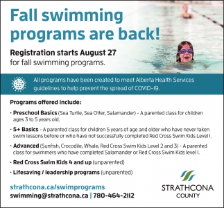 Fall Swimming Programs Are Back!