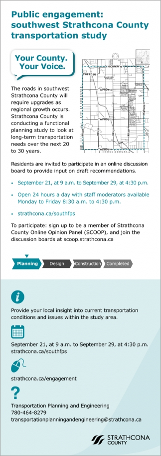 Public Engagement: Southwest Strathcona County Transportation Study