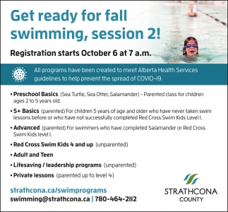 Get Ready For Fall Swimming, Session 2!