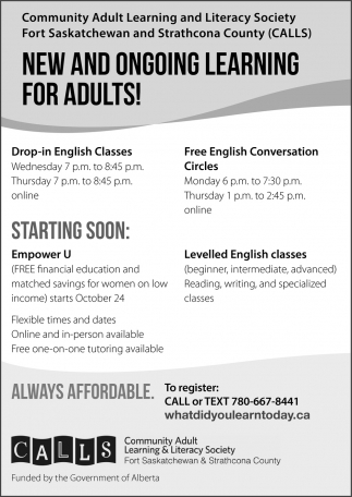 New And Ongoing Learning For Adults!