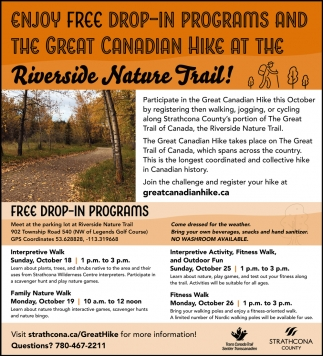 Enjoy Free Drop-In Programs And The Great Canadian Hike At The Riverside Nature Trail!