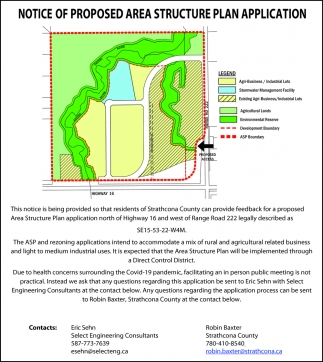 Notice Of Proposed Area Structure Plan Application