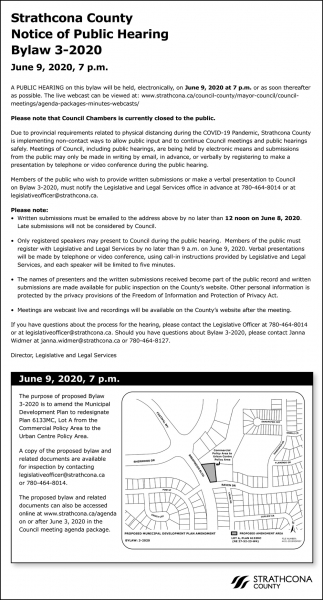 Strathcona County Notice Of Public Hearing