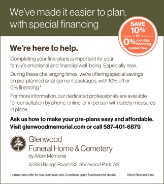 We've Made It Easier To Plan, With Special Financing