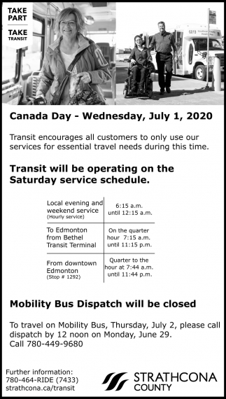Transit Will Be Operating On The Saturday Service Schedule