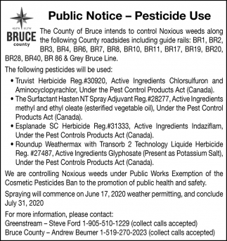 Public Notice - Pesticide Use