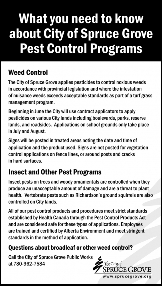 What You Need To Know About City Of Spruce Grove Pest Control Programs