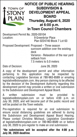 Notice Of Public Hearing Subdivision & Development Appeal Board