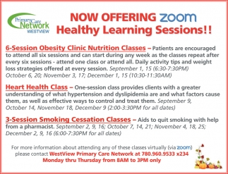 Now Offering Zoom Healthy Learning Sessions!!