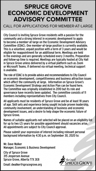 Spruce Grove Economic Development Advisory Committee