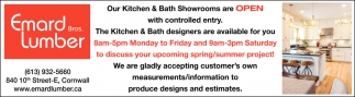 Our Kitchen & Bath Showrooms are Open with Controlled Entry
