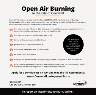 Open Air Burning in the City of Cornwall