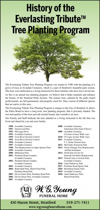 History Of The Everlasting Tribute Tree Planting Program