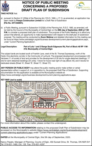 Notice Of Public Meeting Concerning A Proposed Draft Plan Of Subdivision