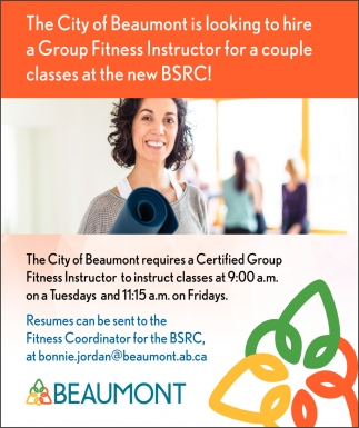 The City Of Beaumont Is Looking To Hire A Group Fitness Instructor For A Couple Classes At The New BSRC!