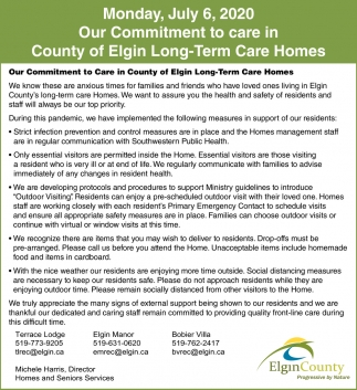 Our Commitment To Care In County Of Elgin Long-Term Care Homes