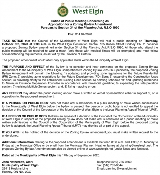 Notice Of Public Meeting Concerning An Application For Zoning By-Law Amendment