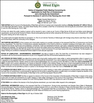 Notice Of Integrated Public Meeting Concerning An Application For Draft Plan Of Condominium And A Zoning By-Law Amendment