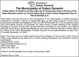 The Municipality Of Dutton Dunwich