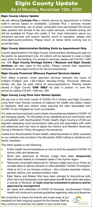 Elgin County Update