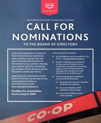 Call for Nominations to the Board of Directors