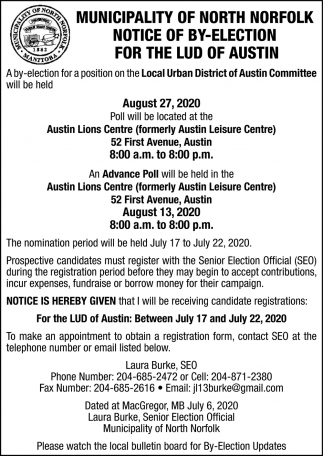 Notice of By-Election for the Lud of Austin