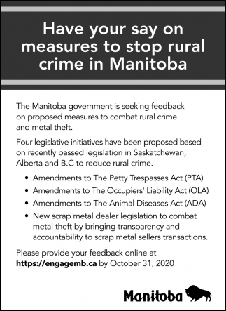 Have Your Say On Measures to Stop rural Crime in Manitoba
