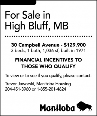 For Sale in High Bluff, MB