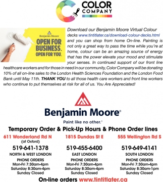 Temporary Order & Pick-Up Hours & Phone Order Lines