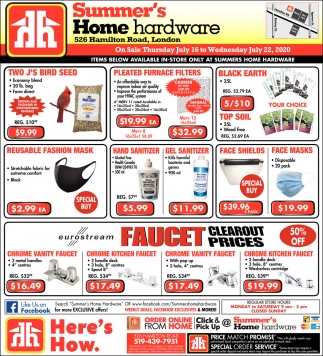 Items Bellow Available In-Store Only At Summers Home Hardware