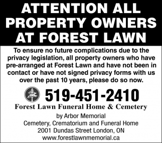 Attention All Property Owners At Forest Lawn
