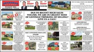 Due To Recent High Sales Volume, We Are In Urgent Need Of Listings! Thinking Of Selling? Give Us A Call!