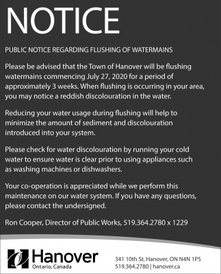 Public Notice Regarding Flushing Of Watermains