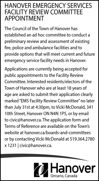 Hanover Emergency Services Facility Review Committee Appointment