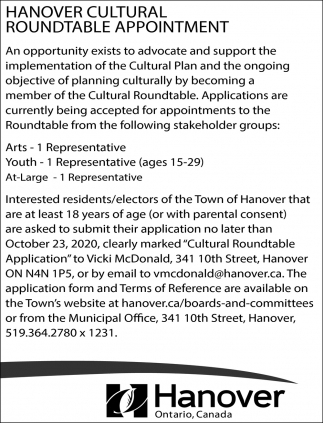 Hanover Cultural Roundtable Appointment