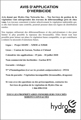 Avis D'Application D'Herbicide