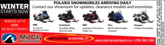 Polaris Snowmobiles Arriving Daily