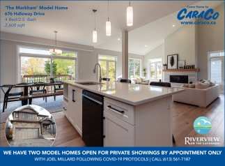 We Have Two Model Homes Open for Private Showings by Appointment Only