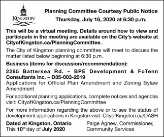 Planning Committee Courtesy Public Notice