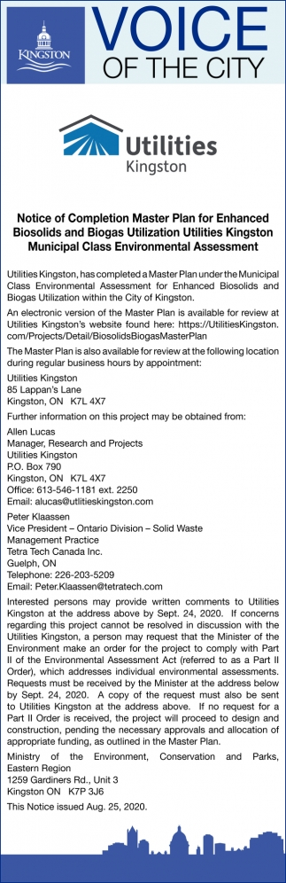 Notice of Completion Master Plan for Enhanced Biosolids