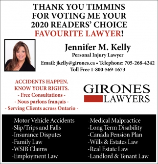 Thank You Timmins for Voting Me Your 2020 Readers' Choice Favourite Lawyer!
