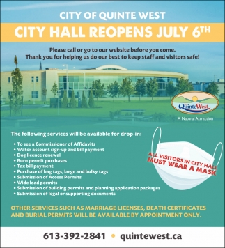 City Hall Reopens July 6th